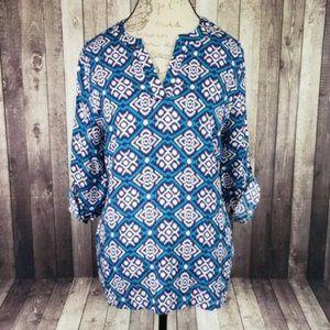 Pixley blue & white geometric print v-neck blouse